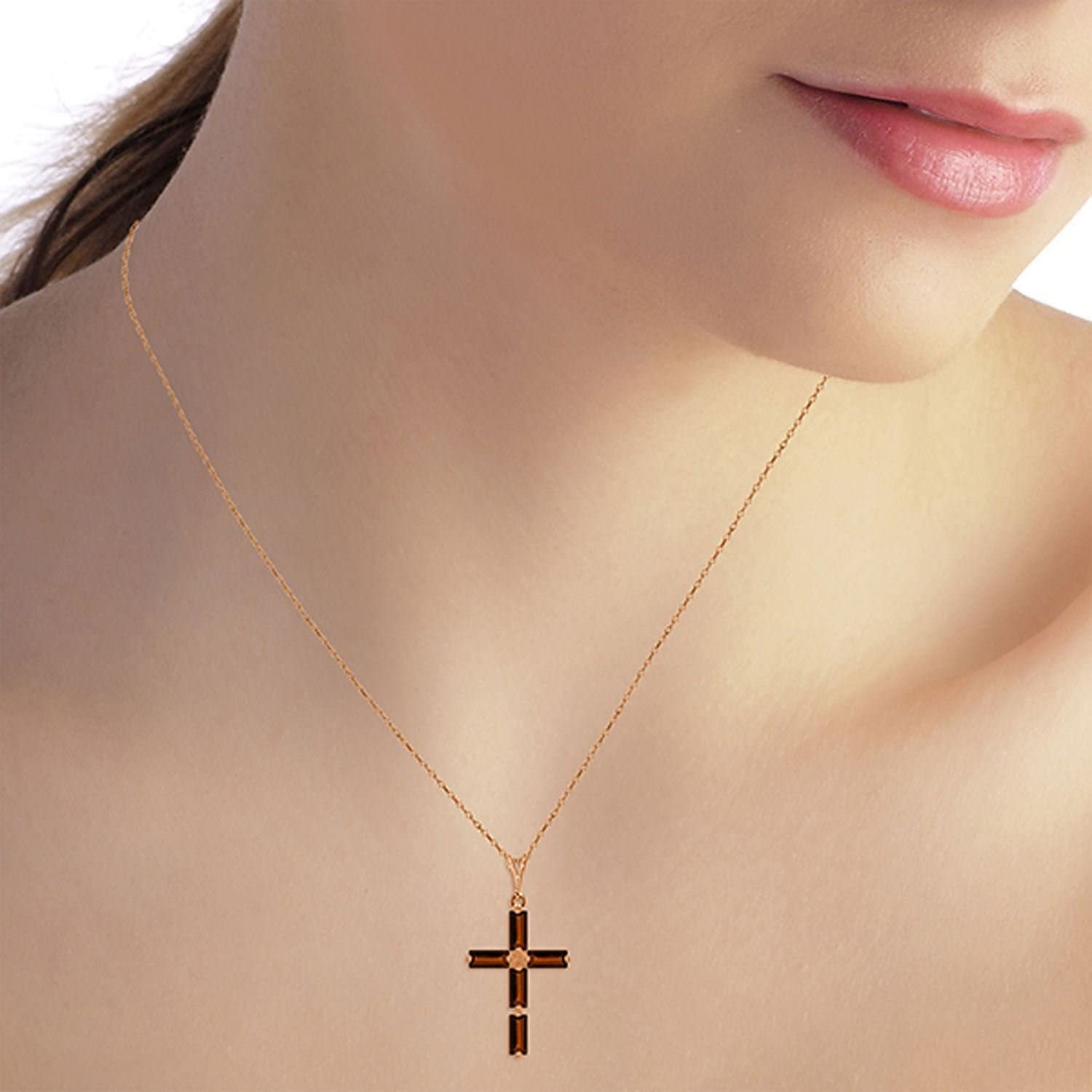 ALARRI 14K Solid Rose Gold Cross Necklace w// Natural Garnets with 22 Inch Chain Length