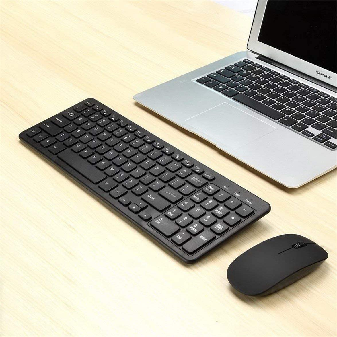 Sylvialuca Wireless Keyboard and Mouse Combo Kit for PC Desktop Laptop Classic Office Set