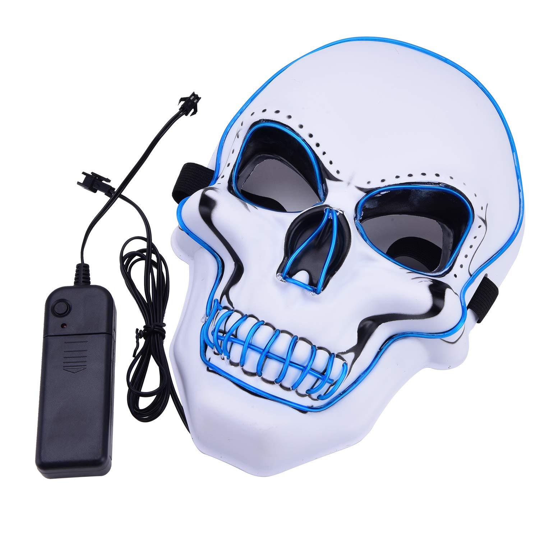 Charlemain Masque Halloween LED, Masque Lumineux avec 3 Modes de Flash,Jouets Lumineux Convient pour Festival,Halloween,Noël,Carnaval,Fête,Mascarade,Cosplay,Decoration