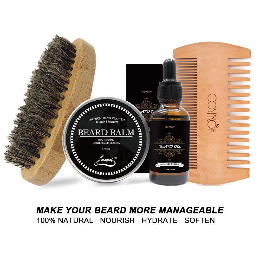 Cosprof Mens Beard Grooming Kit, Includes Beard Balm/Beard Oil/Beard Comb/Beard Brush - Daily Beard Care Set Keeps Beard and Mustache Healthy, Full and Soft