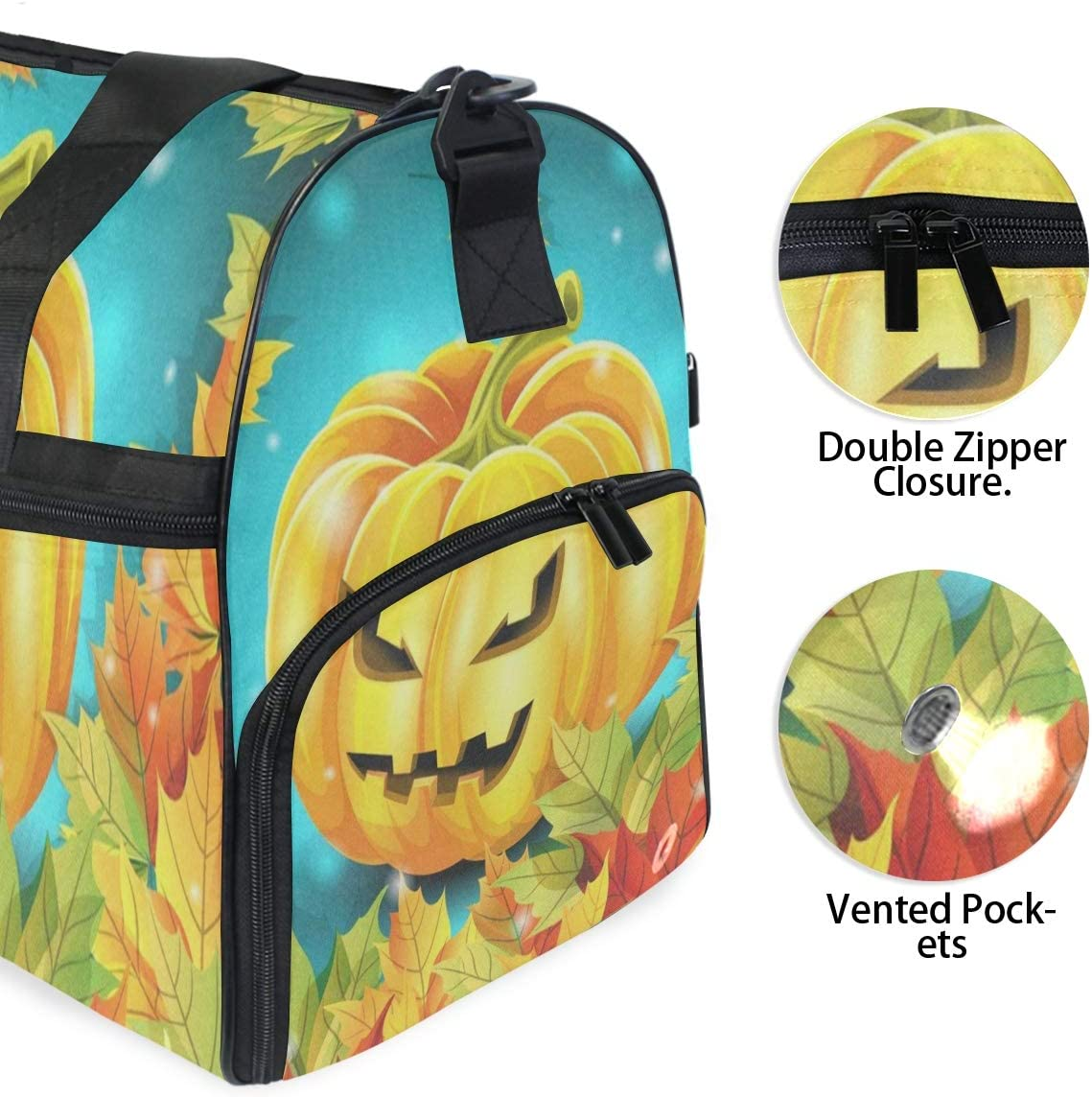 Halloween Pumpkin And Autumn Leaves Gym Bag with Shoes Compartment Sports Swim Travel Overnight Duffels