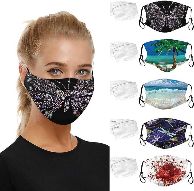 AmyGline Baumwolle-Mundschutz mit Motiv Waschbar Wiederverwendbar Blumenmuster Atmungsaktiv Multifunktionstuch Halstuch Face Bandanas