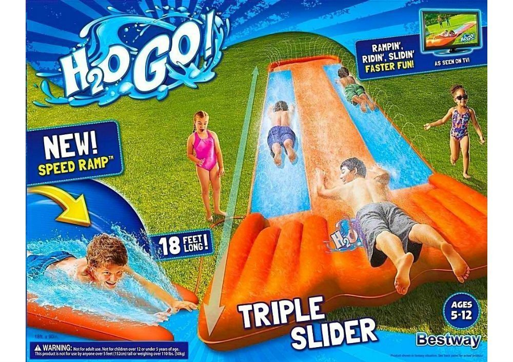Go Triple Slider Kids Outdoor 3-Person Water Slide with Splash Lagoon for Big-Splash-Take-Off, Orange by Bestway (Image #1)