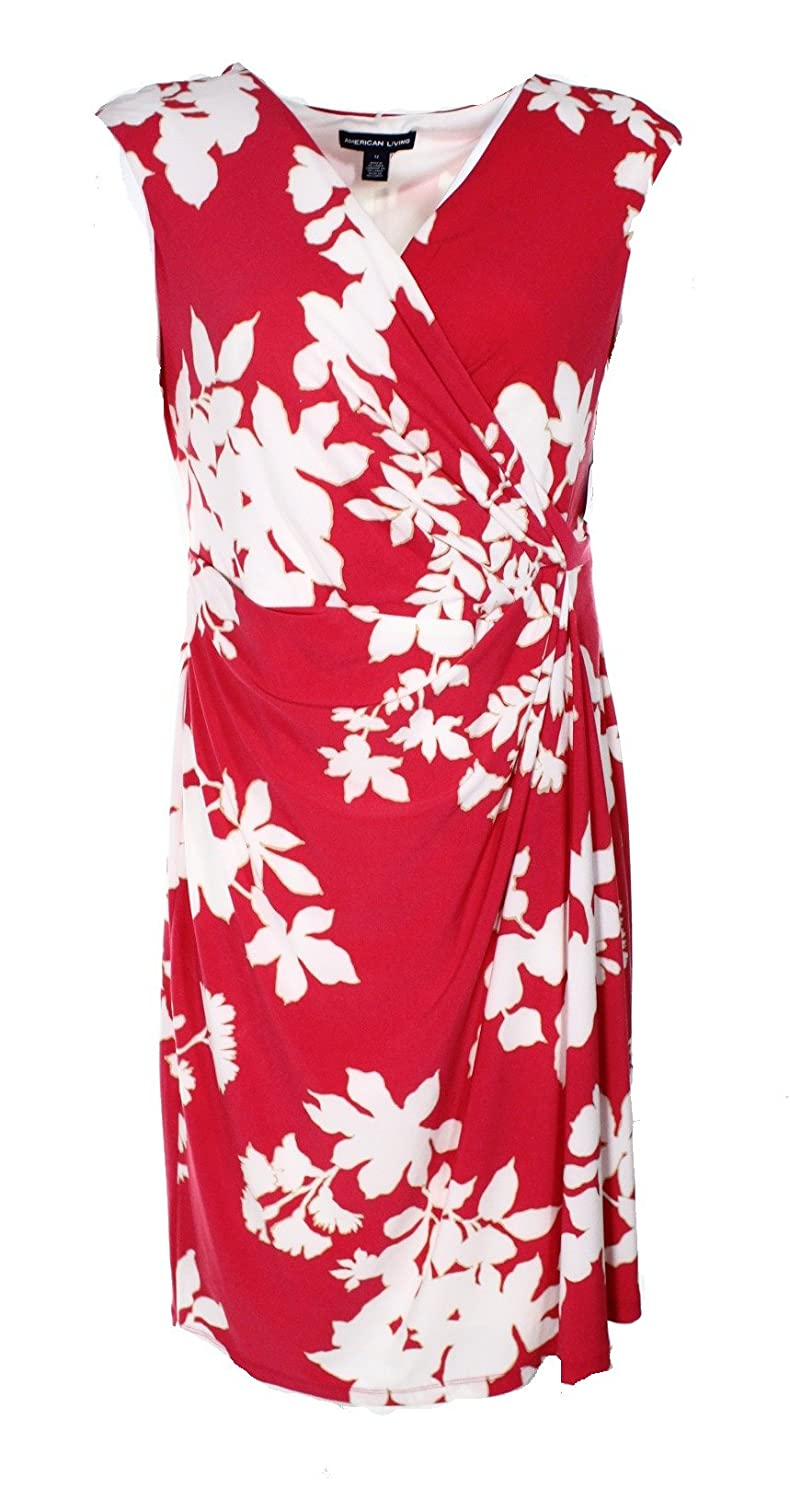 American Living White Floral-Print Surplice Sheath Dress