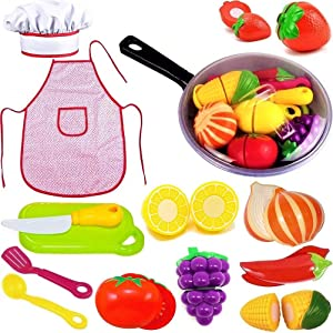Play Kitchen Accessories Set for Kids - Cutting Toy Fruits & Vegetables - Cooking Pan - Apron and Chef Hat, Toy Knife & Cut board - & Play Utensils - A Toddlers, Boys & Girls Fake Food Pretend Playset