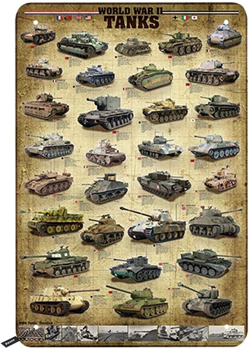 Swono Tanks Tin Signs,Worlds War Kinds of Tanks Vintage Metal Tin Sign for Men Women,Wall Decor for Bars,Restaurants,Cafes Pubs,12x8 Inch