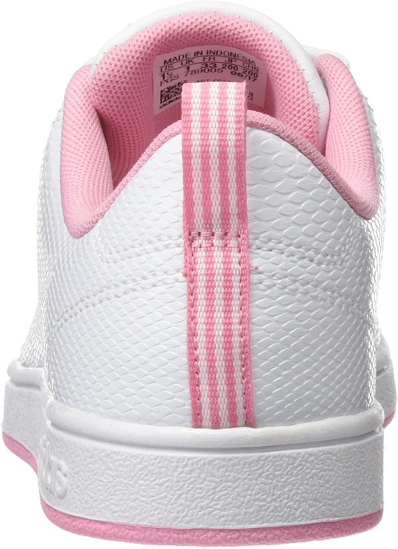 adidas Vs Advantage Cl K, Chaussures de Basketball Mixte Enfant Blanc Cassé Ftwr White Ftwr White Light Pink