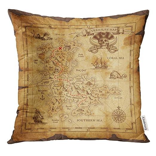 Cojín Amarillo Vintage Super detallado Mapa del tesoro ...