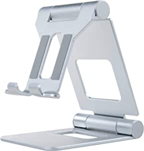 SMAPRO Cell Phone Stand, Multi-Angle Holder, Mobile Cradle, Desktop Cradle, Adjustable, Foldable and Portable Mobile Accessory, for All Smartphones, iPad and Tablets up to 10 inches (Silver)