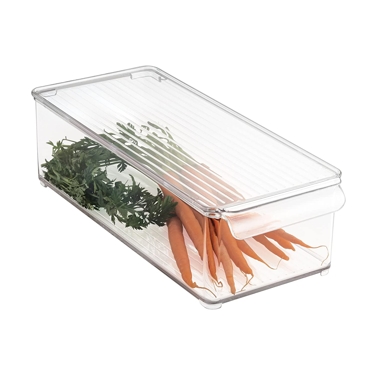 mDesign Plastic Food Storage Container Bin with Lid and Handle for Kitchen, Pantry, Cabinet, Fridge, Freezer - Organizer for Snacks, Produce, Vegetables, Pasta - Clear