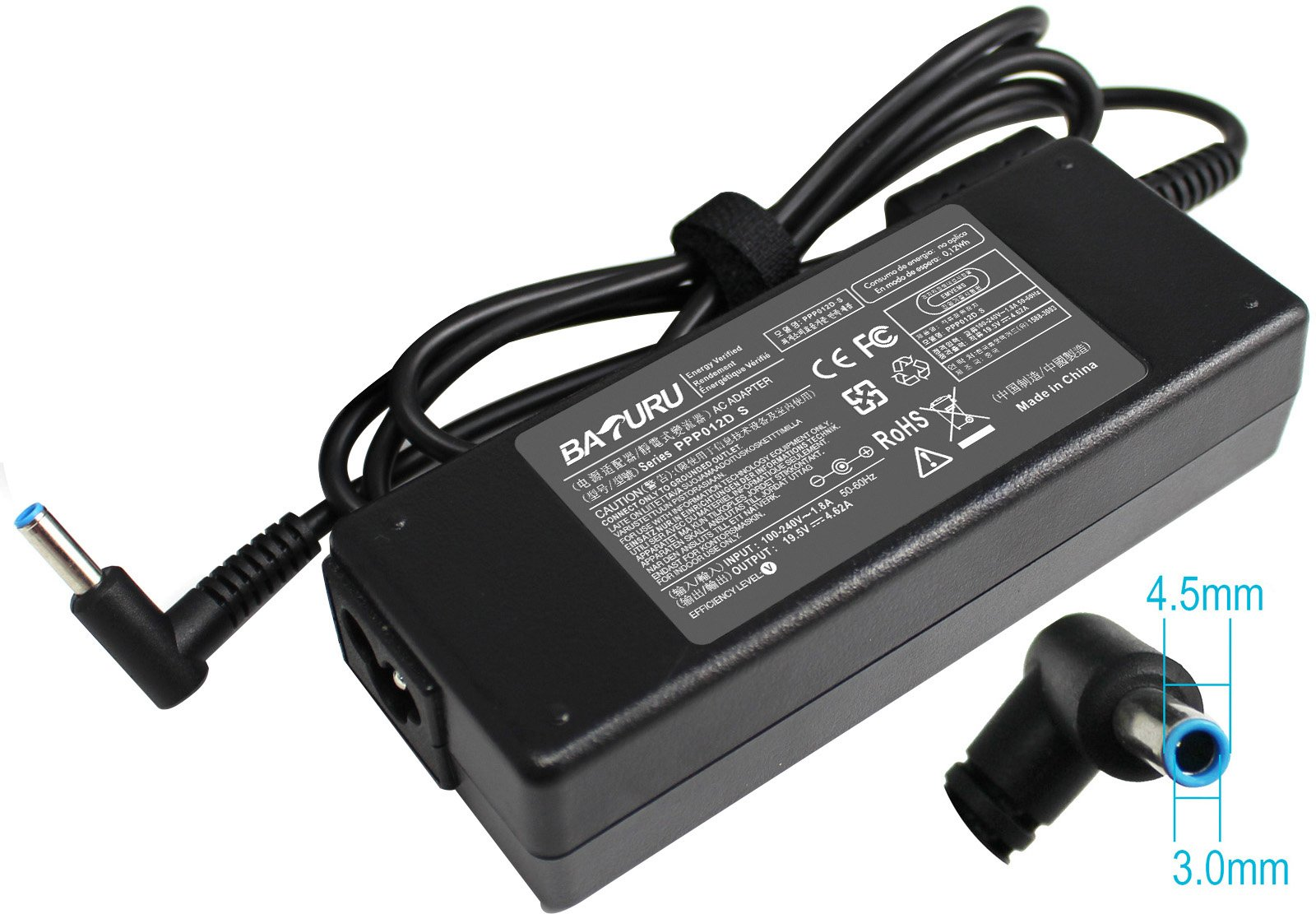 Baturu 90W AC Adapter charger for HP ENVY 17-j010us Pavilion 15 17 Notebook pc 17-e127sf 17-e000 17-e010us 17-e054ca 17- e071nr 15-e029TX 15-e026tx 14-e035tx 14-e022tx 14-e021tx