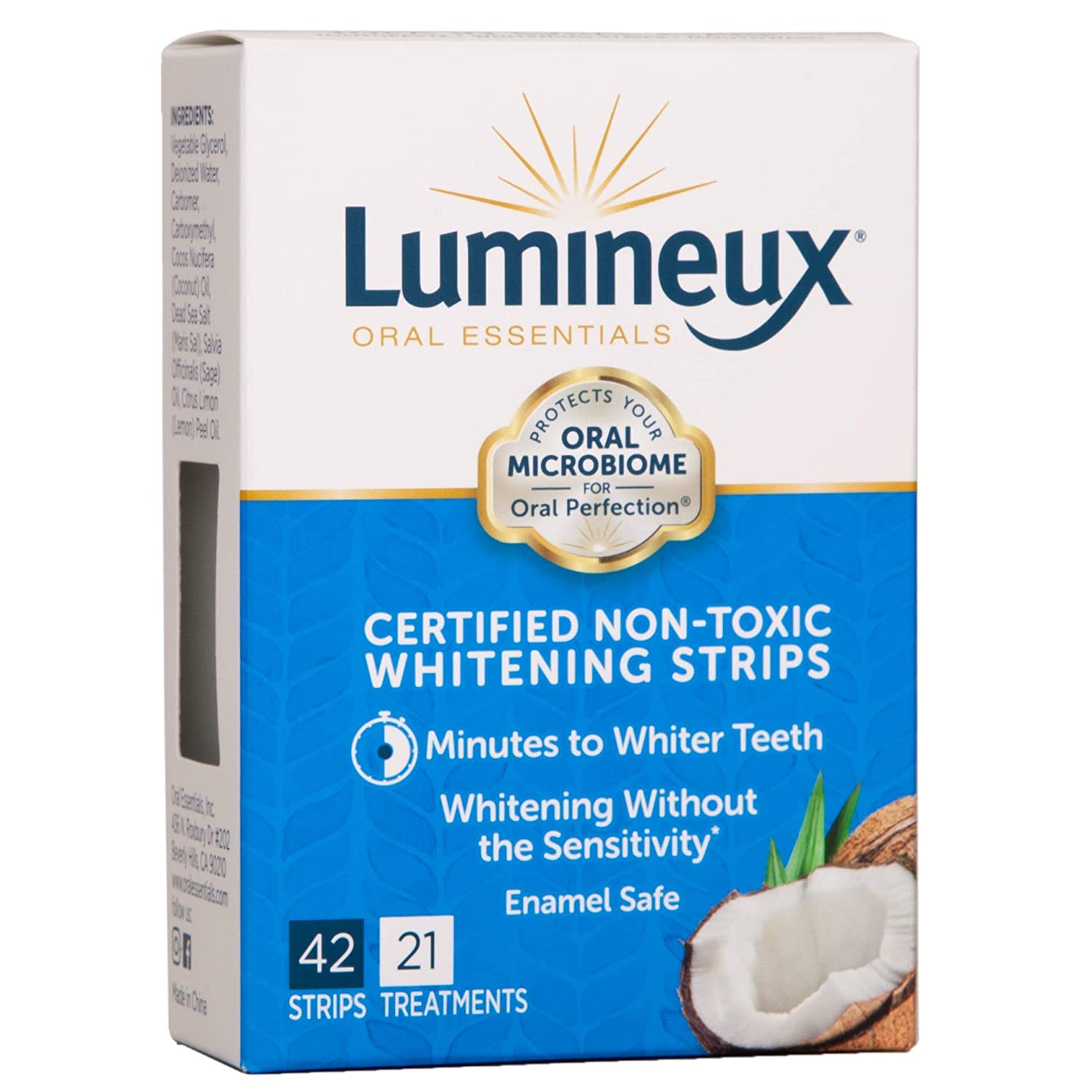 Lumineux Oral Essentials Teeth Whitening Strips | 42 Strips, 21 Treatments | Certified Non Toxic | Sensitivity Free | Whiter Teeth 7 Days | NO Artificial Flavors, Colors, SLS Free, Dentist Form