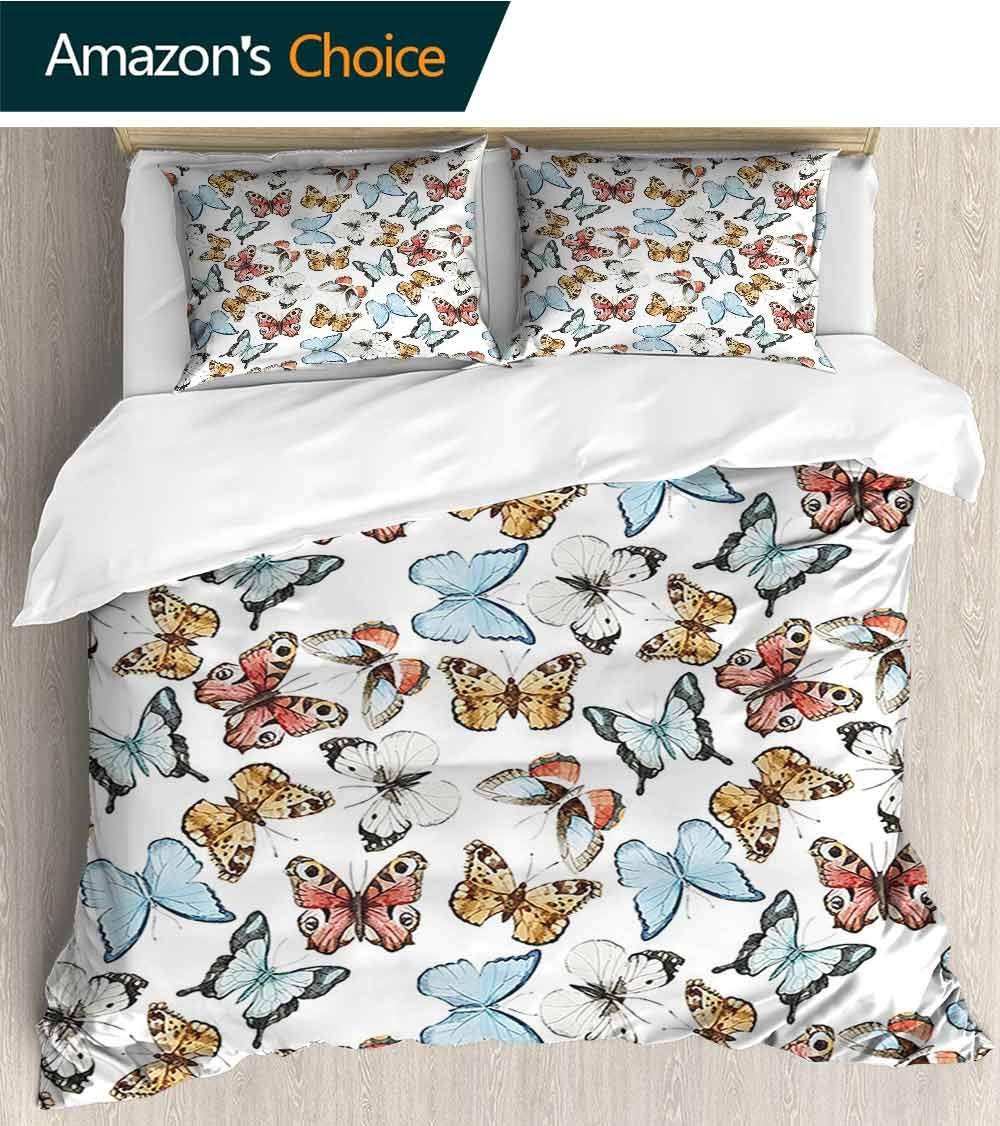 including 1 quilt, 2 fakes ,Butterflies Decoration Valentine Bunnies Kissing In Air With Love Hearts And Butterflies Home Decor Pi microfiber pattern quilt cover 68x 85,3-piece bedding
