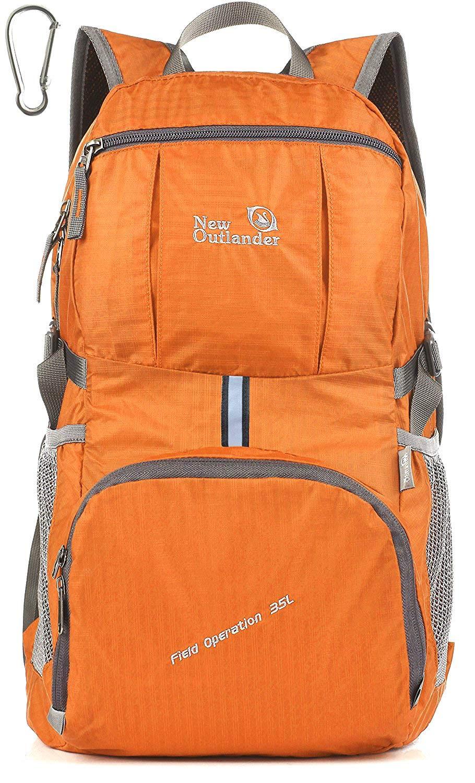 Outlander Packable Lightweight Travel Hiking Backpack Daypack (New Orange)