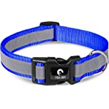 Taglory Reflective Adjustable Dog Collar, Quick Release Buckle, Pet Training Collars for Medium Dogs, Navy Blue
