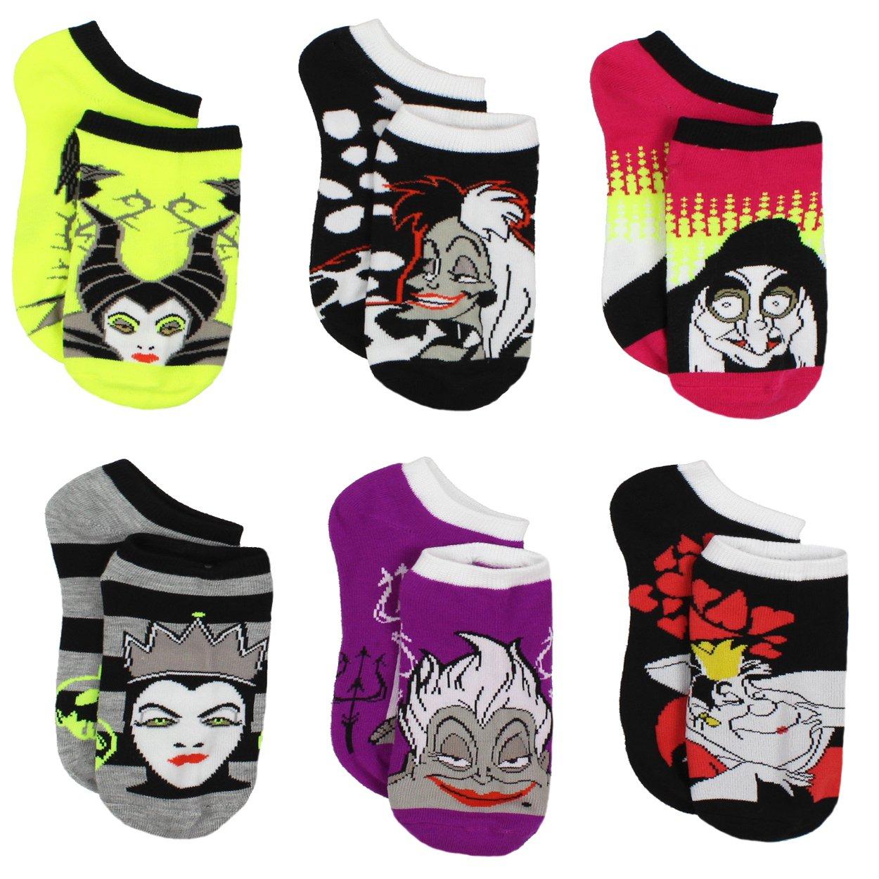 Disney Villains Teen Womens 6 pack Socks (9-11 (Shoe: 4-10), Villains Black/Multi)