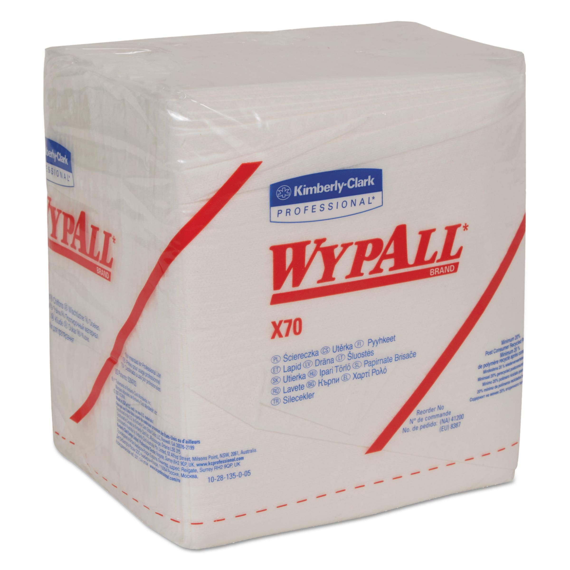WypAll 41200 X70 Cloths, 1/4 Fold, 12 1/2 x 12, White, 76 per Pack (Case of 12 Packs) by Wypall