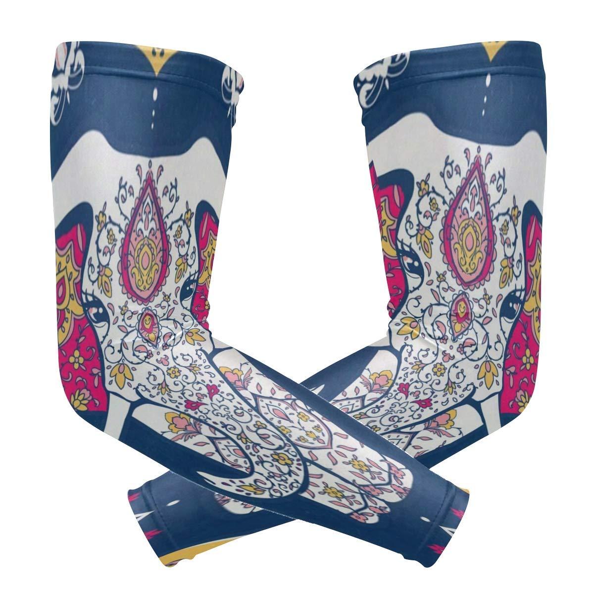 Trikahan Arm Sleeves Mandala Elephant Mens Sun UV Protection Sleeves Arm Warmers Cool Long Set Covers