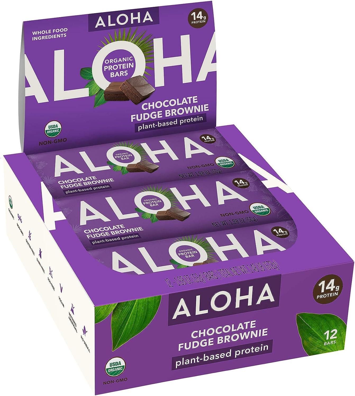 ALOHA Organic Plant Based Protein Bars |Chocolate Fudge Brownie | 12 Count, 1.9oz Bars | Vegan, Low Sugar, Gluten Free, Paleo, Low Carb, Non-GMO, Stevia Free, Soy Free, No Sugar Alcohols
