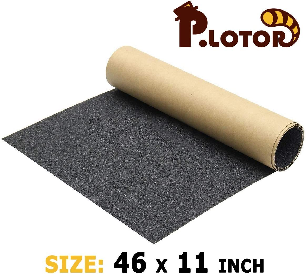 "P.LOTOR 46"" x 11"" Skateboard Grip Tape, Bubble Free Waterproof Black Anti Slip Griptape for Gun, Scooter, Longboard, Stairs, Non Slip Grips, Anti Skid Adhesive Tape (117x28cm)"