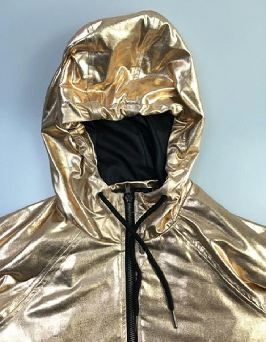 ZXFHZS Womens Hoodies Outerwear Long Sleeve Sweatshirt Gold Metallic Raincoat