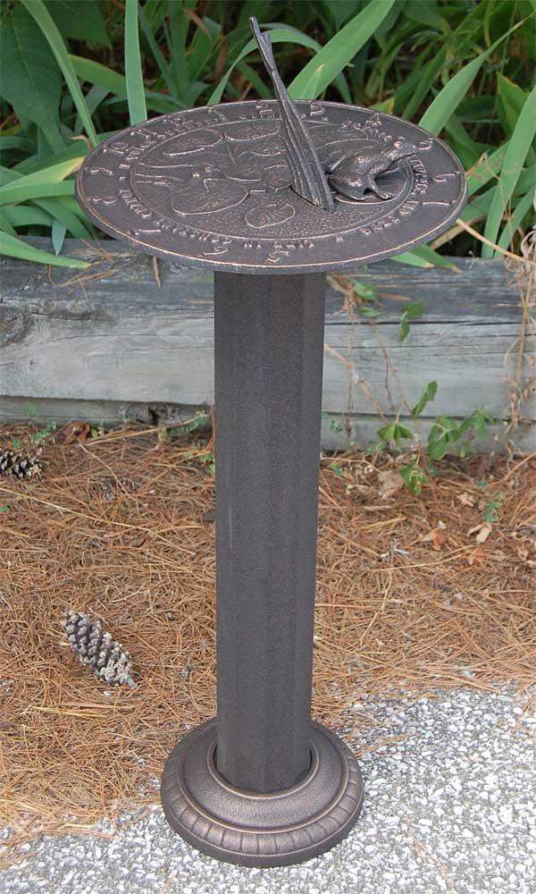 BestNest Whitehall Frog Sundial & Roman Pedestal Kit, Oil Rubbed Bronze