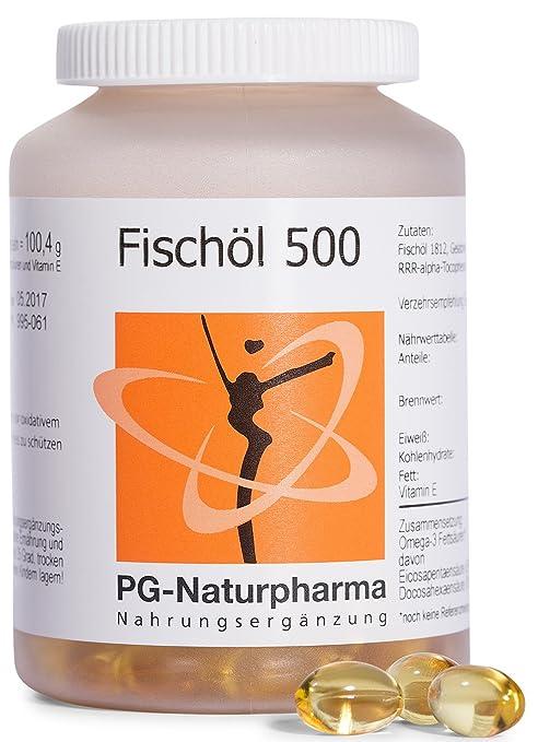 Aceite de Pescado - Omega 3 capsulas, con vitamina E, 1 cápsula con 500