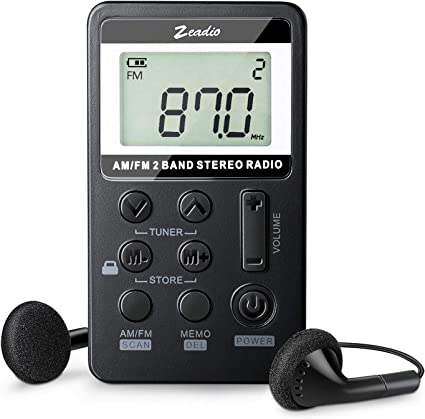 Black AM FM Radio,Mini Portable Pocket Radio Receiver with Ring Stand Holder and Earphone Jumbo Sky Rechargeable Battery for Outdoor and Home
