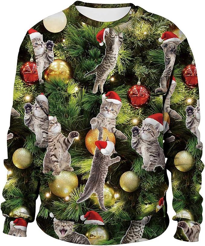 Unisex Ugly Christmas Sweatshirt Men Women Novelty Sweater 3D Print Design Funny Xmas Pullover
