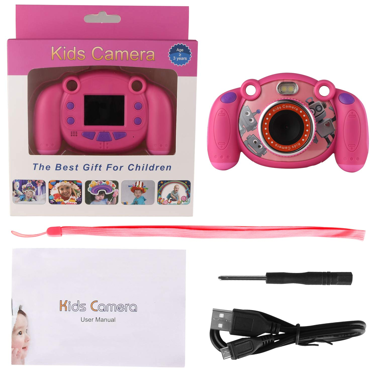 eyesen Kids Camera Digital Child Camcorder Shockproof Mini Camera with LED Flash Light and 2.0 Inch Sreen, Gifts for 4-8 Year Old Girls by eyesen (Image #7)