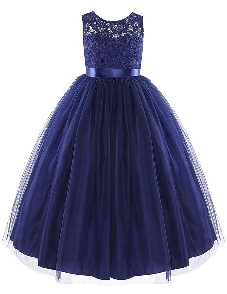 Freebily Vestido Largo de Encaje Fiesta Boda Ceremonia para Niña Chica Vestido sin Mangas Azul Oscuro