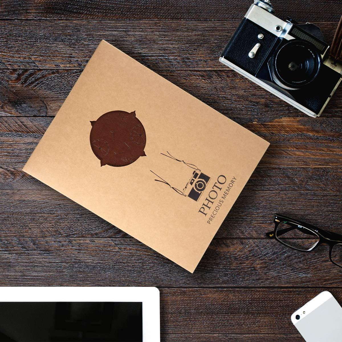 Marron L Altopbum Album Photo Scrapbooking Voyage Mariage Album Vintage Cuir Adhesif 60 Pages Noires Anniversaire Cadeau No/ël Saint Valentin Cadeaux pour Le Papa M/ère Femme Ami
