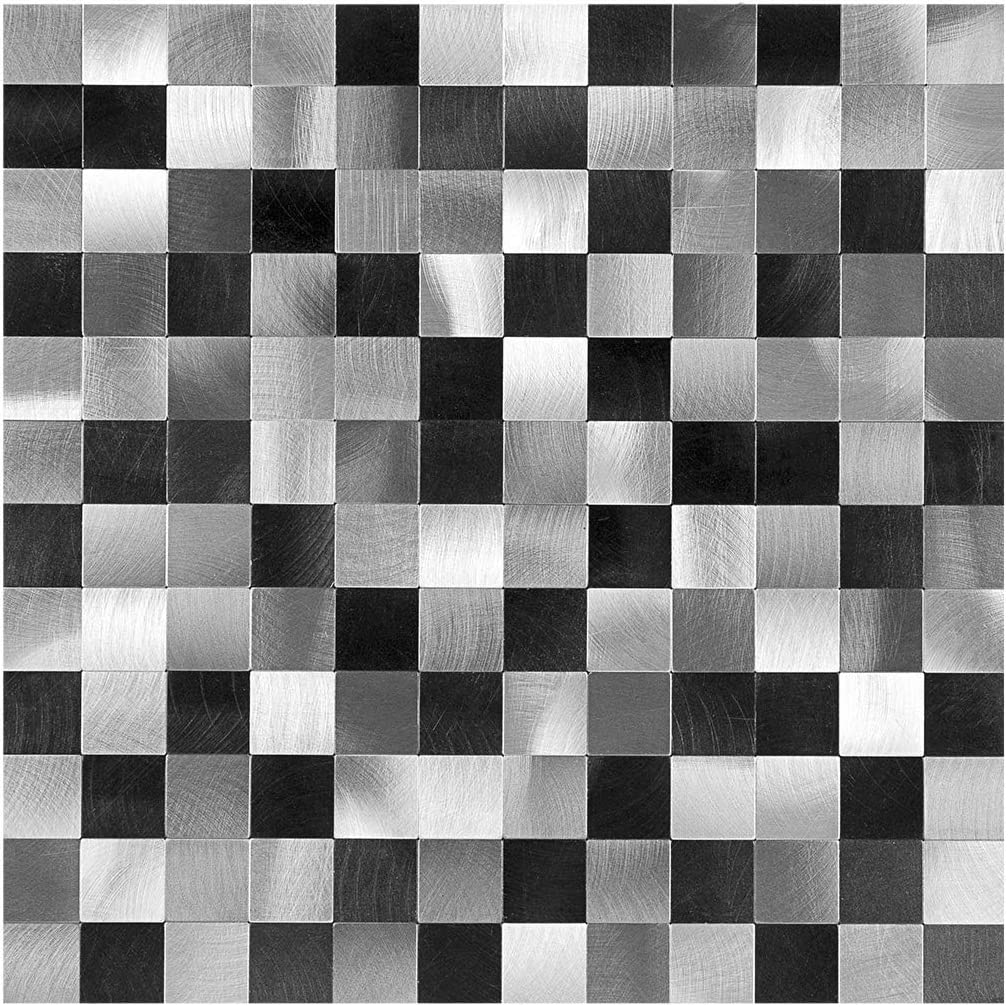 Amazon Com Decopus Peel And Stick Metal Mosaic Tile Backsplash Ms25 Black Silver Grey 5pc Pack For Kitchen Bathroom Table Tops Wall Accents 12 X 12 X0 16 Thick Self Adhesive Metal Mosaic Tile Stick On Home