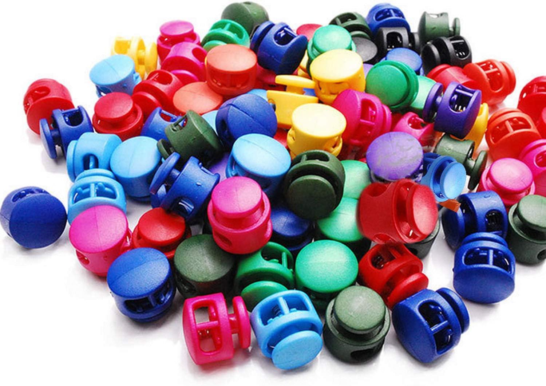 100 PCS Gosear plástico de doble orificio cordón de resorte cerraduras de cuerda tapones botones de sujeción para bolsas con cordón cordones mochila colores aleatorios