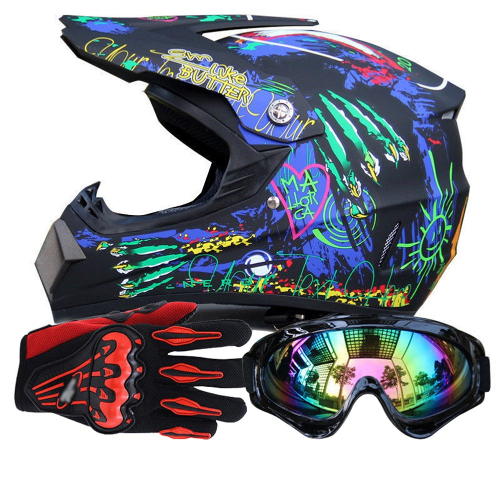 Miidii MotoCross Racing Helmet Xtreme Sports Off Road for ATV Dirt Bike Helmet With Goggles And Gloves