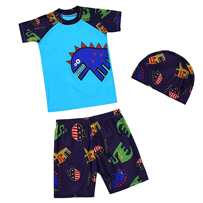 03851b5b8d968 iiniim Kids Boys Tankini Swimsuit Set Tops + Bottoms + Swimming Cap Set  Swimwear Bathing Suit Blue 10-12 Years: Amazon.co.uk: Clothing