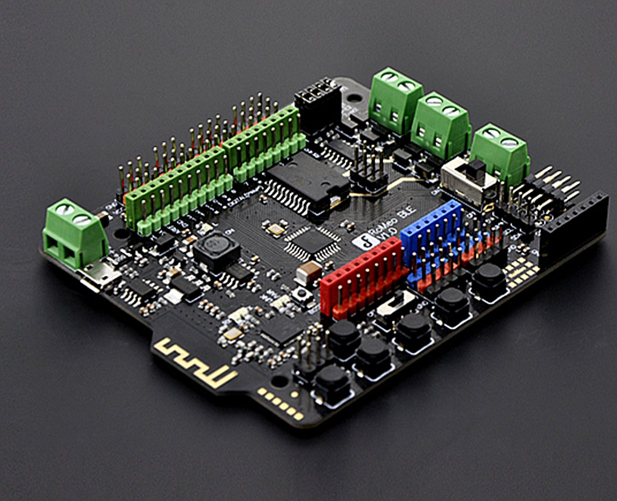Romeo BLE (Arduino Compatible Atmega 328)/You Can Describe It As A Control Board Specially Designed For Robot Applications, Carrying The Gene Of Bluetooth 4.0 And Being Compatible With Arduino.
