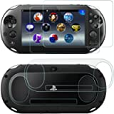 Screen Protectors for Sony Playstation Vita 2000 with Back Covers, AFUNTA 2 Pack (4 Pcs) Tempered Glass for Front Screen…