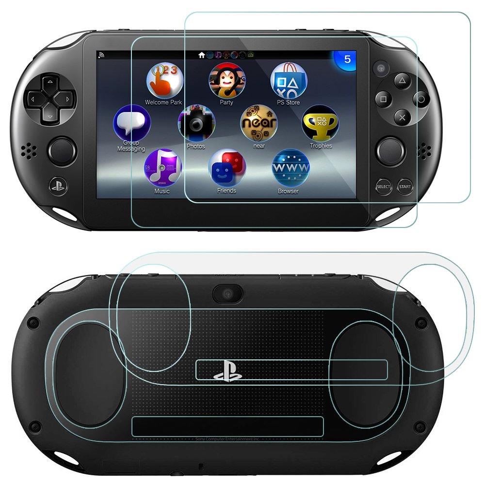 AFUNTA Screen Protectors Compatible Sony Playstation Vita 2000 with Back  Covers, 2 Pack (4 Pcs) Tempered Glass for Front Screen and HD Clear PET  Film