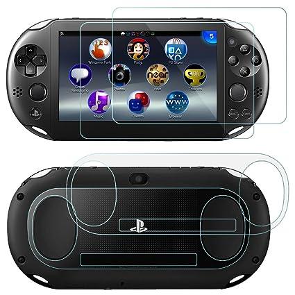 Protectores de Pantalla para Sony PlayStation Vita 2000 con Espalda Protectores, AFUNTA 2 Pack (4 piezas) de Vidrio Templado para Pantalla Frontal y ...