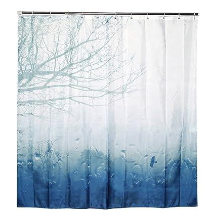Vakker Bahay Fabric Polyester Raindrop Decorative Bathroom Curtain Water Repellent Mildew Resistant Anti Bacterial