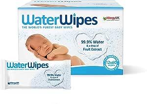 WaterWipes Baby Wipes Sensitive Newborn Skin, 720 Wipes (12 Packs of 60 Wipes)