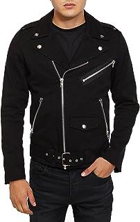Amazon.com: Mens Black Denim Basic Motorcycle Style Jacket W/Half