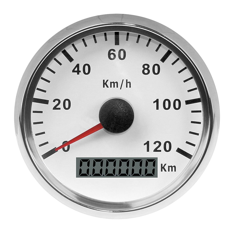 スピードメーター タコメーター 走行距離計 バイク オートバイ用 GPSポインタメーター 0-120 km/h 12V / 24V自動車用 ステンレス 防水アナログゲージ(白)   B07GN3VJY1