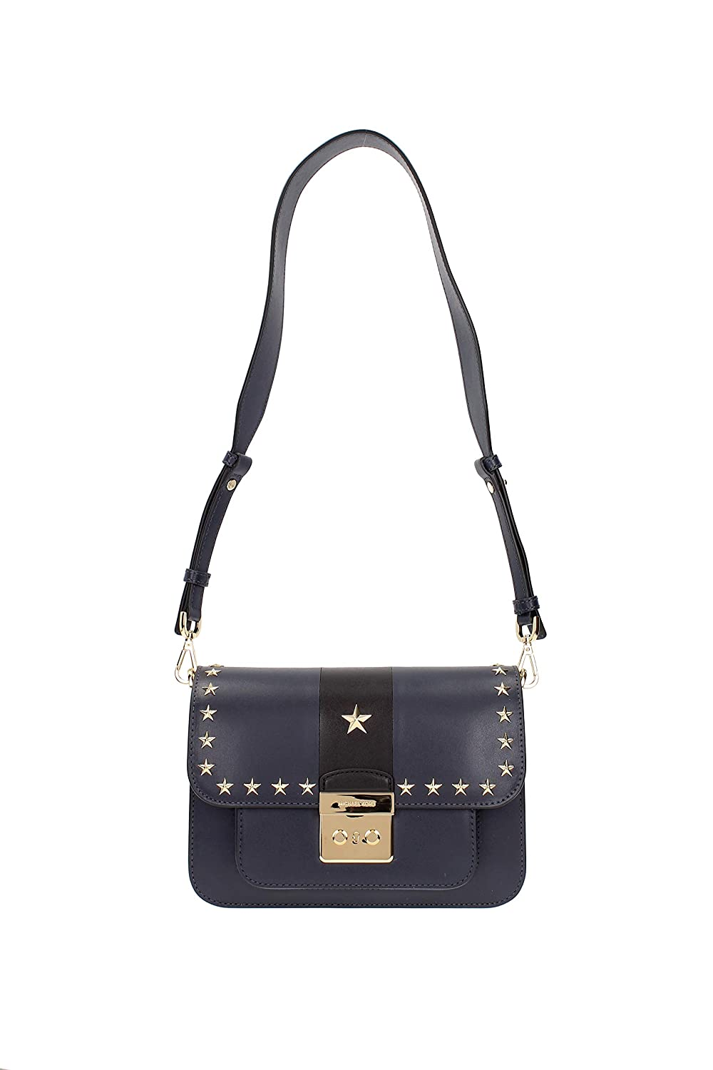 a2c9a745cb46 Michael Kors Sloan Editor Large Admiral and Black Leather Shoulder Bag  w Stars  Handbags  Amazon.com