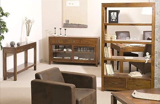 MACABANE Nomades Design 501040 aparador con 2 Puertas correderas vitrées/3 cajones Madera/contrachapado 40 x 145 x 85 cm: Amazon.es: Hogar