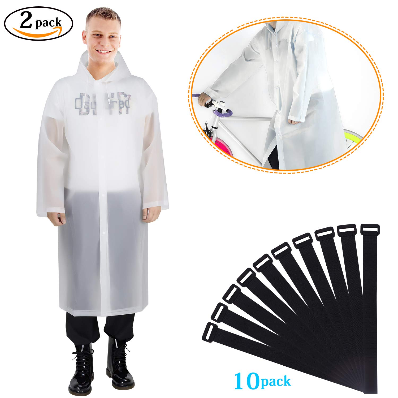 Raincoat, Rain Poncho, Rain Ponchos, Rain Wear, 2 Pack Translucent Raincoat Portable Lightweight Reusable with Hoods and Sleeves for Adult Universal Size(160-190cm) Thick EVA Waterproof Jacket Grebarley