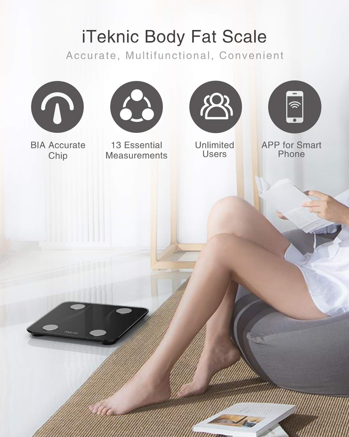 iTeknic Bluetooth Body Fat Scale, Bathroom Weight Scale Digital Smart BMI Scale Body Composition Analyzer with Smartphone App for Body Weight, Fat, Water, BMR, Muscle Mass 400lb, Black