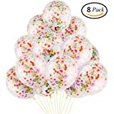 DECORA 8 Pieces Colorful Confetti Balloon 12 inch for Wedding, Easter and Birthday Party Decorations