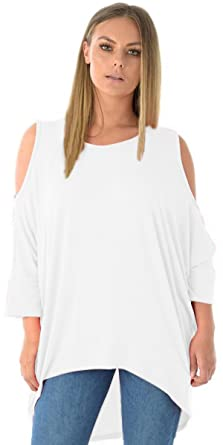 137230e85e3fd4 Vanilla Ink Ladies Womens Plus Size Tunic Hippy Cold Cut Shoulder Loose Tops  UK Size 8